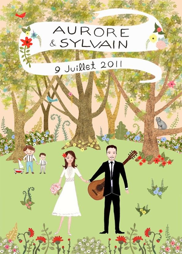Handmade bride and groom custom wedding invitation