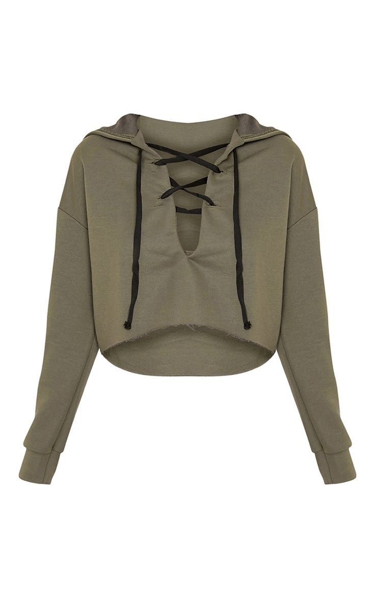 52 melhores imagens de moletons tumblr no pinterest fotos do amigo khaki lace up cropped hoodieadd some edge to your off duty look with this hoodie fandeluxe Gallery