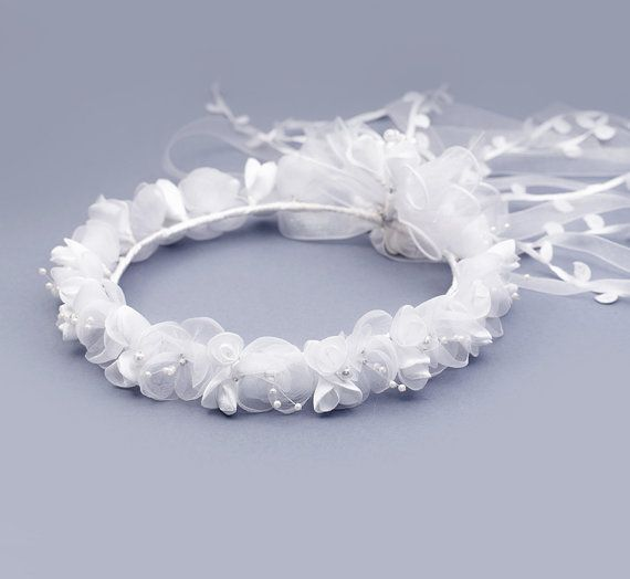 First Communion wreath White Fairy Crown white by FloralHeadpiece