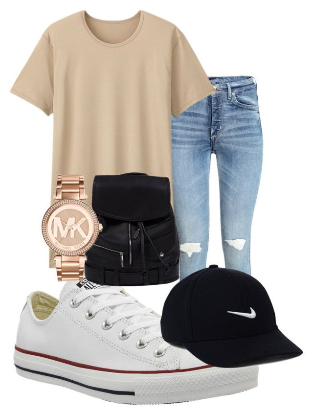 """summer outfit"" by rabiamiah on Polyvore featuring Uniqlo, Converse, Michael Kors and NIKE"