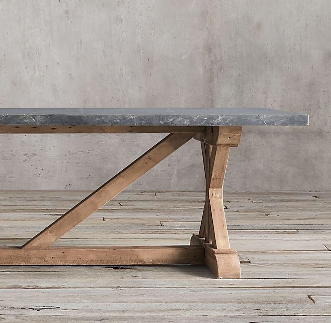 Salvaged Wood Marble X Base Rectangular Dining Table Dining Table Rectangular Dining Table Restoration Hardware Dining Table