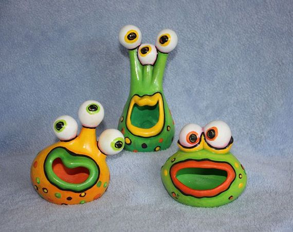 RESERVED FOR CYN (3) - Handpainted ceramic Little Monsters set of three all colorfully painted in lime green, orange & yellow