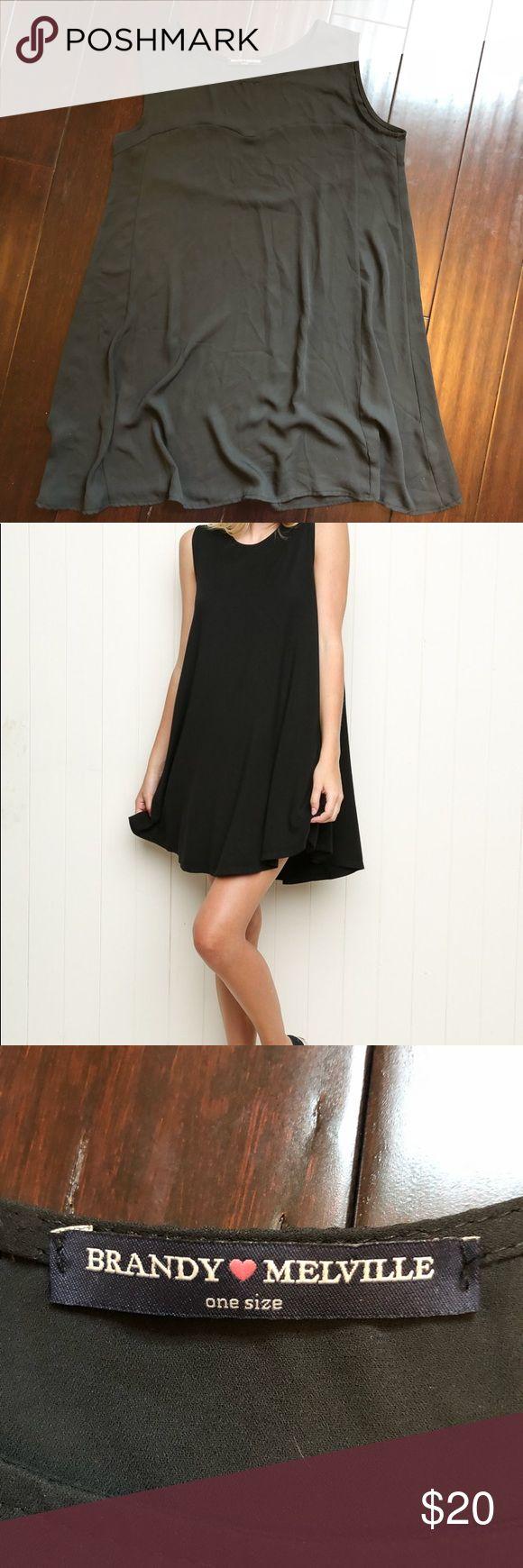 {Brandy Melville} Alena tunic dress in black •Brandy Melville one size black tunic dress •Condition: EUC, no damage found  •Size: OS Brandy Melville Dresses Midi