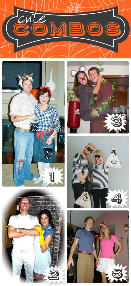 Creative couples costumes.  Okay, that Mr.Clean costume is too funny!