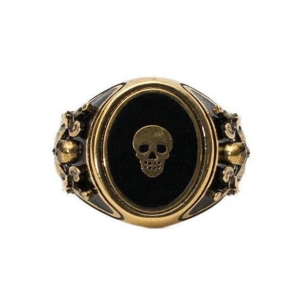 Alexander Mcqueen 'Signet Skull' Ring ($216) ❤ liked on Polyvore featuring men's fashion, men's jewelry, men's rings, rings, multicolor, mens skull rings, mens signet rings and black gold mens rings #alexandermcqueenskull