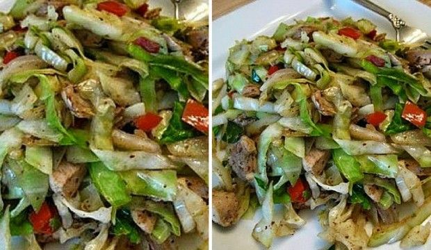 Rychlý kuřecí salát s česnekem a žampiony