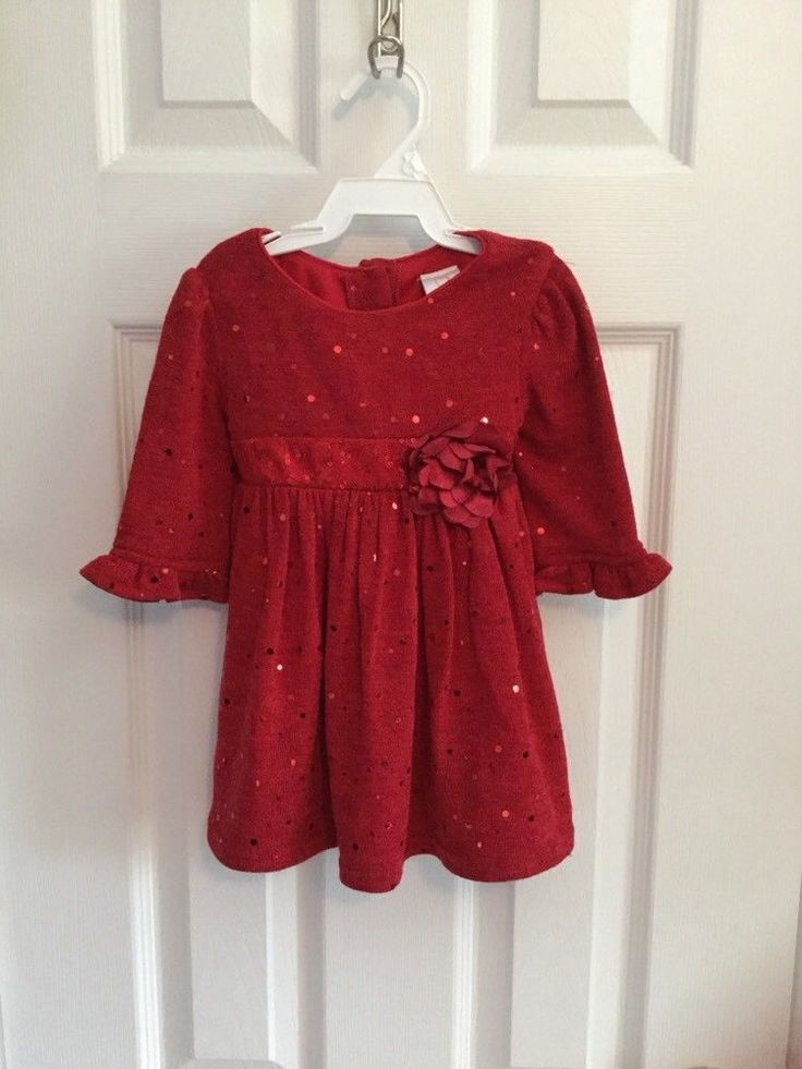 Nice Awesome Baby Girl Sz 18 Months Holiday, Christmas Red Sparkly Dress NWOT 2017-2018