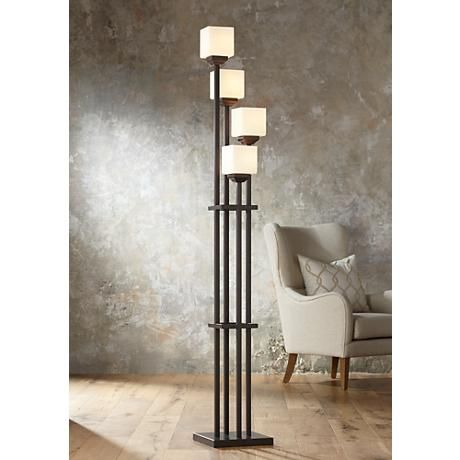 Light Tree Four Light Bronze Torchiere Floor Lamp - #22087 | www.lampsplus.com