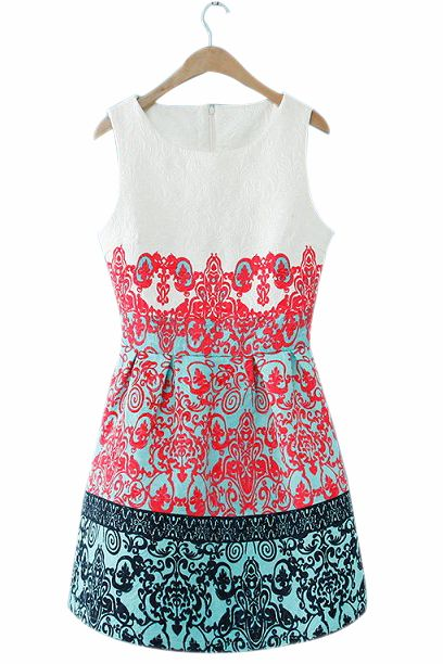 Courtly Print 3D Embossing Dress