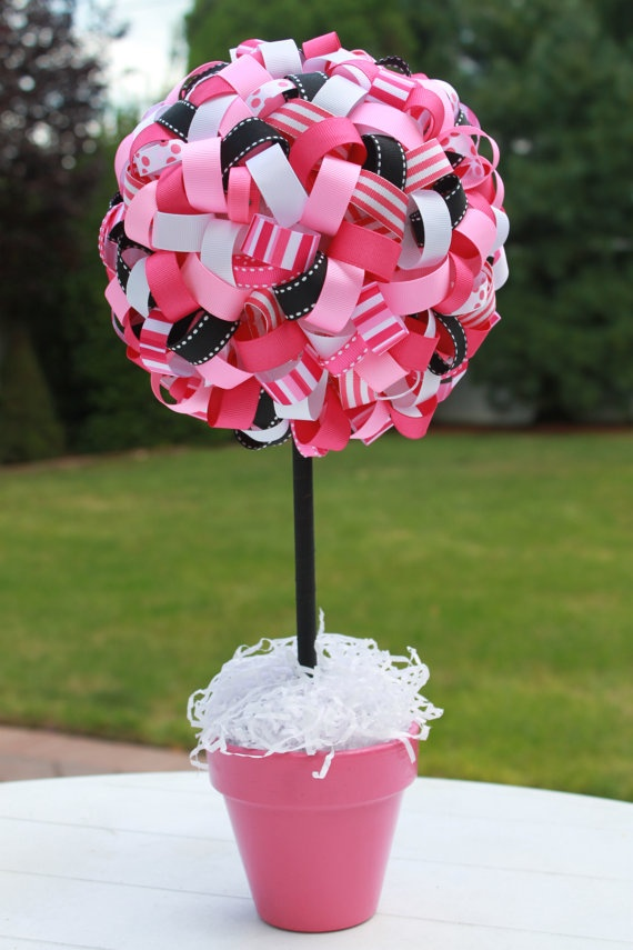 Ribbon topiary centerpiece baby shower pinterest
