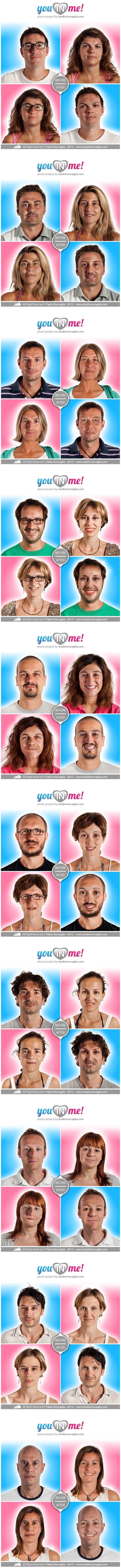 """The photographic project """"You in Me!"""" is born to be ironical about one of the most typical and frequent feature of loving couples: they lose themselves in one another.  60 people (30 loving couples) accepted to participate in this project/experiment in order to see and recognize their faces in a totally new vision, which is at the same time madly familiar.  Enjoy it and have a good time!  Project author Fabio Roncaglia All Right Reserved © Fabio Roncaglia - www.studioroncaglia.com"""