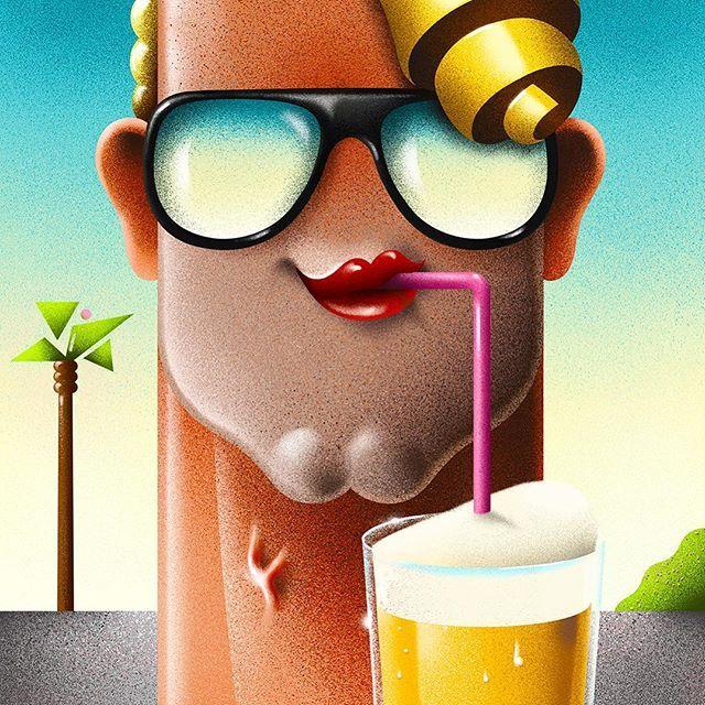 Straw-BEER-y Saturday!  . . . #beer #art #artwork #illustration #öl #80s #1980s #designspiration #graphicdesign #airbrush airbrush 80s 1980s retro vintage poster
