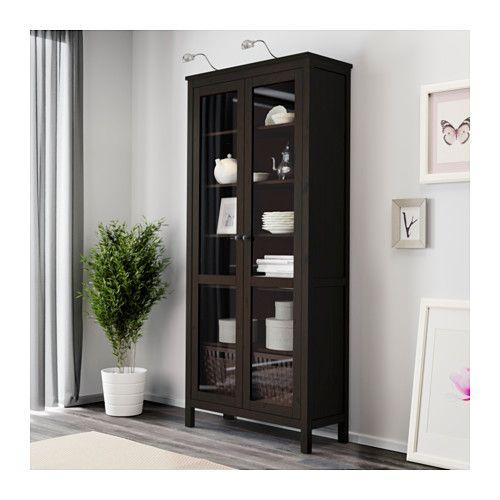HEMNES Glass-door cabinet, black-brown black-brown 35 3/8x77 1/2
