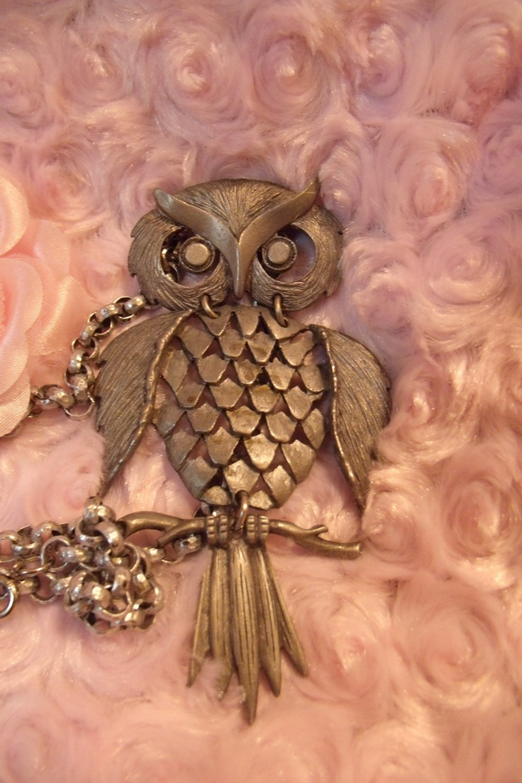 70s Large Owl Pendant and Necklace Beautiful Owl by ConfuciusKitty