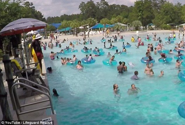 A lifeguard surveys a wave pool in South Carolina, and quickly spots a three-year-old girl struggling