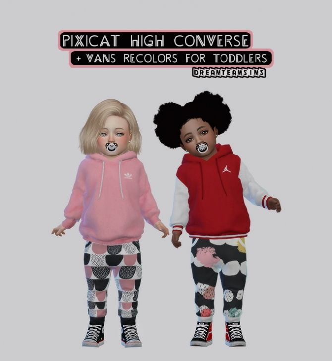 Pixicat High Converse   Vans Recolors for Toddlers at Dream Team Sims • Sims 4 Updates