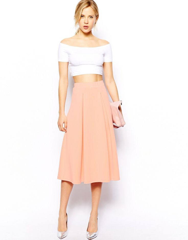 Midi Skirt in Scuba With Full Pleats Made from an easy-care scuba ...