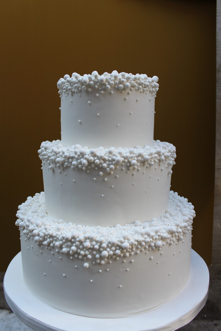 Thinking of a one tier cake with the pearls would be cute. A simple yet elegant cake worthy of a fairy tale.