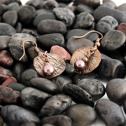 Small Hammered Copper Earrings with Purple Swarovski Pearls 1 | Pretty Patina