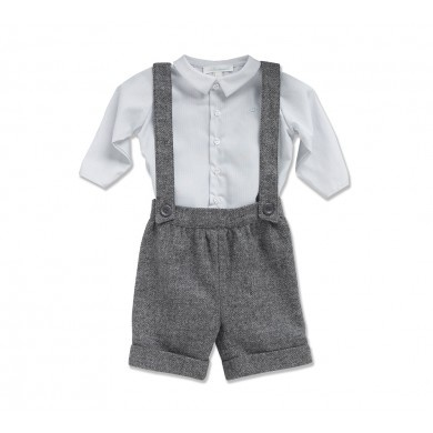 Suspender Short - Grey Herringbone