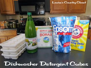 Dishwasher detergent cubes 1 cup washing soda 1 cup borax 1/4 c epsom salt 8TBSP Lemon juice