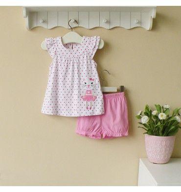 Mom and Bab Knitted Set - Pink Cat - sadinashop.com  Baju setelan (gaun pendek dan celana pendek) untuk bayi dan anak perempuan.