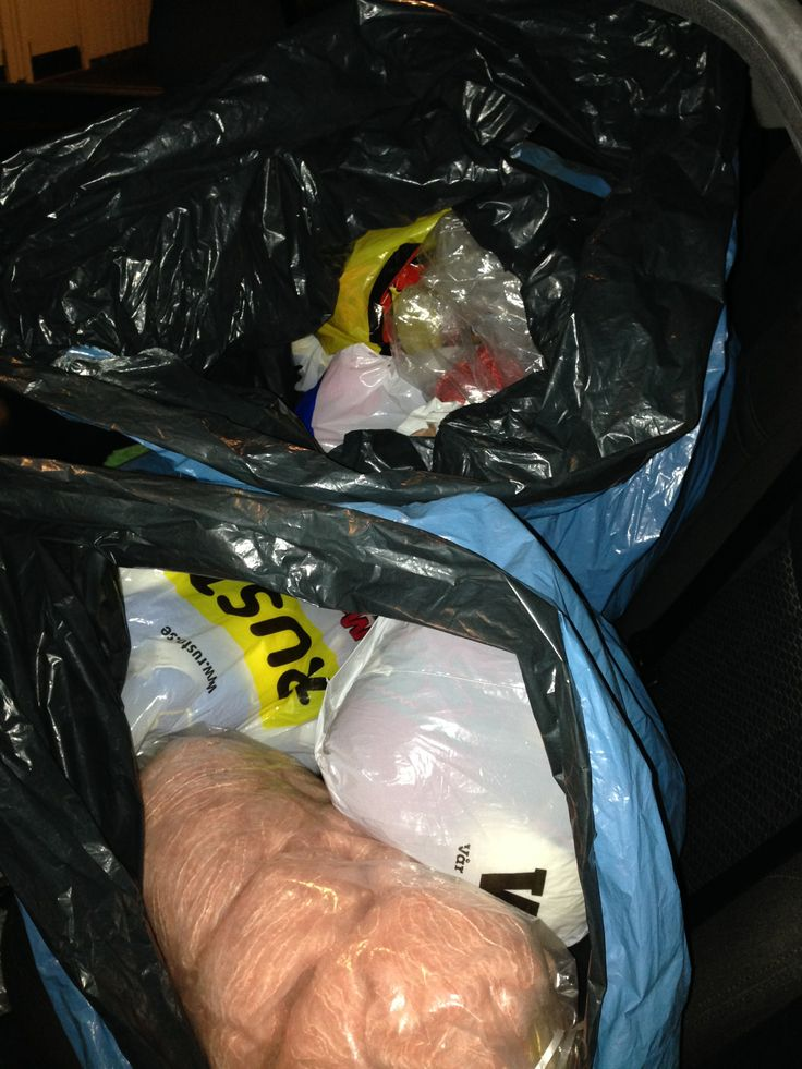 2 big garbage bags filled with donated yarn