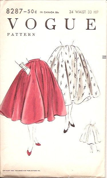 Vogue 8287 Vintage 50s Circle Skirt Sewing Pattern UNCUT