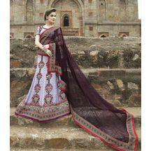 Light Violet Color Pure Silk Hand Print Lehenga Choli  With Pure Lurex Dupatta    ₹ 6,999