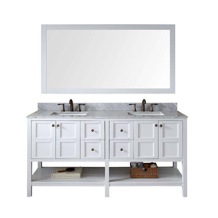 Virtu usa winterfell 72 inch double sink white vanity with - 72 inch bathroom vanity double sink ...