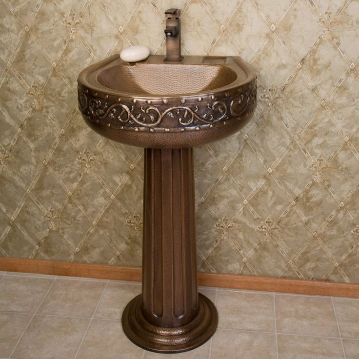 Made Of Heavy Gauge Copper, This Copper Pedestal Sink Features A  Beautifully Hammered Texture With Intricate Vine Detail That Complements  Its Stylish ...