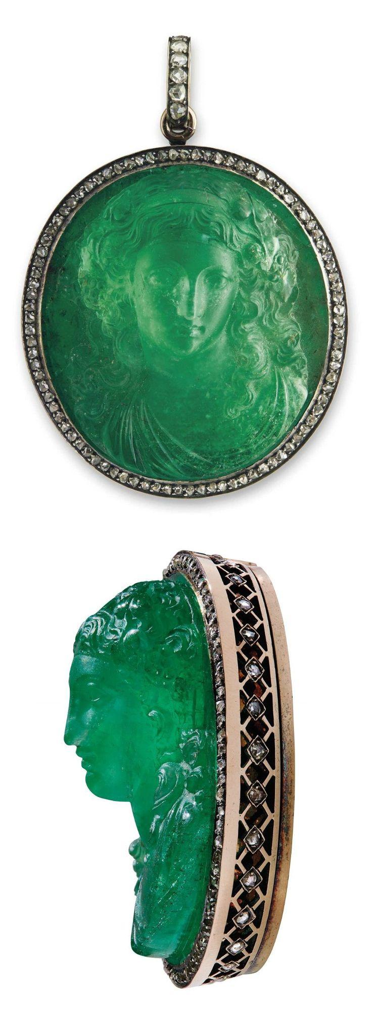 HISTORIC EMERALD AND DIAMOND PENDANT. The emerald cameo in high relief depicting a female bust within a rose-cut diamond surround and detachable pendant hoop, 6.0 cm. Provenance: Lausanne, January 1920, lot 234, Joyaux de Madame la Princesse Lobanoff de Rostoff.
