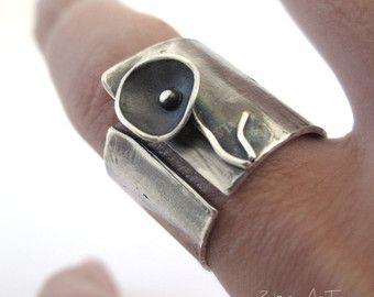 Amplia banda de anillo de plata anillo geométrico por ZizouArT