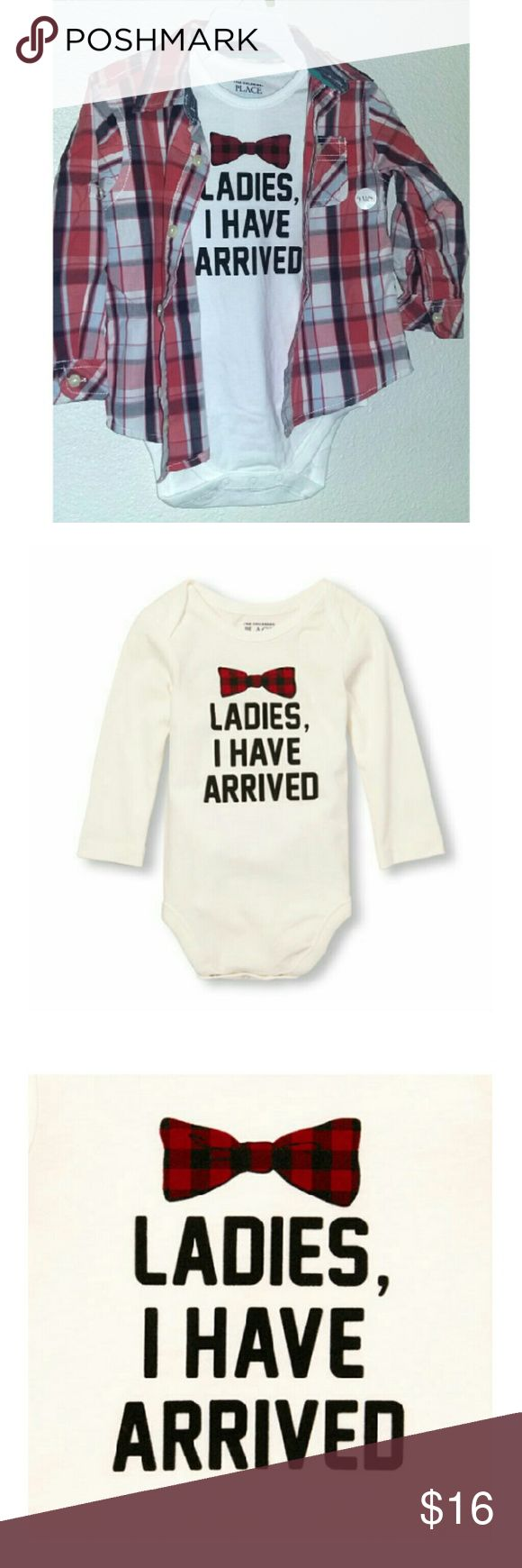 """2 Shirt Combo Ladies I have Arrived Comes with button up checkered shirt which can be long sleeve or made into short sleeve. Also comes with white long sleeve now the onesie that says """"ladies I have arrived"""".  Can be bought separately on other listings. Button up shirt is 24 months and onesie is 18 to 24 month's size. Button up shirt is tough skin brand and onesie is childrens place. Children's Place Shirts & Tops Button Down Shirts"""
