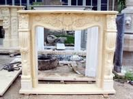 Hand Carved Marble Fireplace Mantel with Rosette Swags, Beige #3772