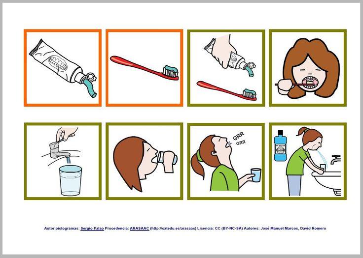 Rutinas diarias cepillado de dientes con pictogramas de ARASAAC - Femenino