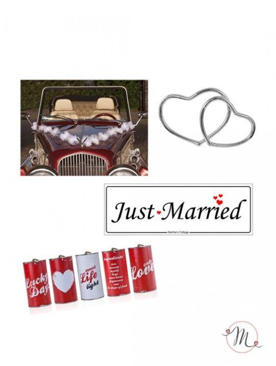 """Kit completo per auto Love. Il kit comprende:  1set da 5 barattoli auto modello retrò;  1 targa auto modello """"just married"""";  1 ghirlanda tulle bianca;  1 set da due cuori auto. In #promozione #matrimonio #weddingday #targa #sconti #offerta #auto #wedding #accessoriauto #justmarried #oggisposi"""