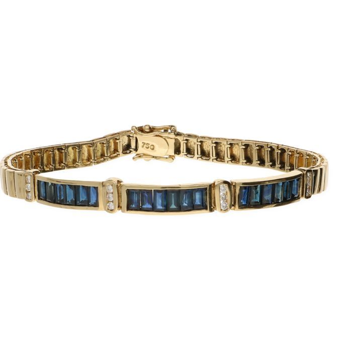 18k Geelgouden schakel armband bezet met 12 blauwe baguette geslepen saffieren en 12 briljant geslepen diamanten van totaal ca. 012crt. - Lengte: 12 cm  EUR 1.00  Meer informatie