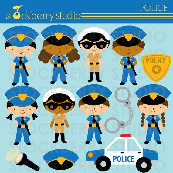 Police Personal and Commerical Use Clipart Set - Instant Download