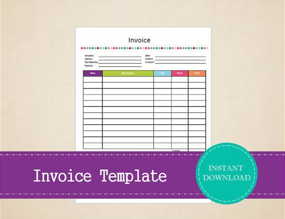 Printable Invoice Template  Business Planner  by MBucherConsulting