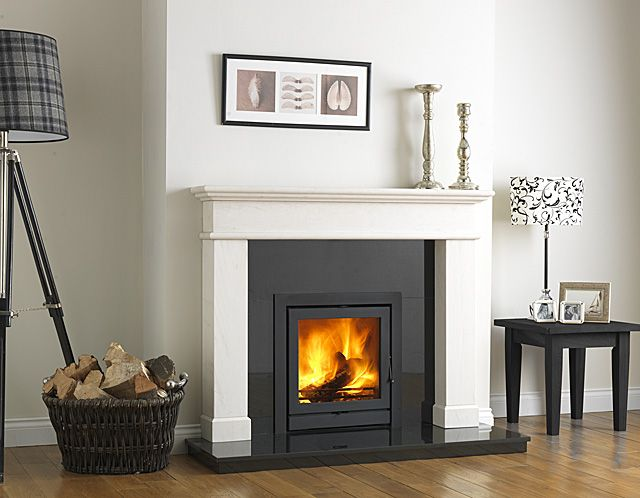 inset woodburning stove with oak beam - Google Search