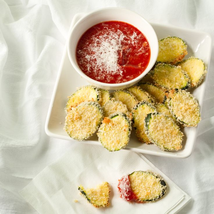 Oven-Fried Zucchini, coated with Panko, baked to a perfect crunch