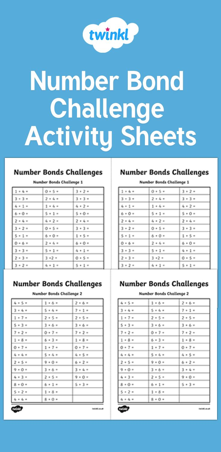 Use This Activity Sheet To Practise Rapid Recall Of Number Bonds
