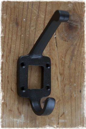 Kapstokhaken Brocante Vintage Zwart Brons Dubbel Kaarthouder Zelf