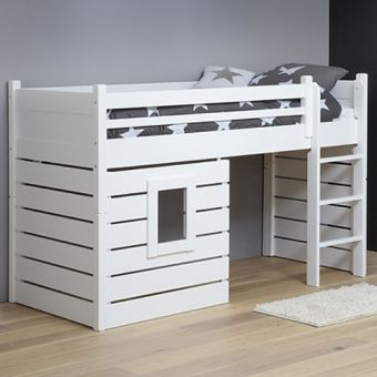 hochbett spielbett h ttenbett tarzan massivholz wei umbaubar 90x200cm kinderzimmer. Black Bedroom Furniture Sets. Home Design Ideas