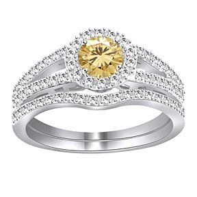 3 Ct Round Golden Moissanite Sterling Silver Halo Wedding Set # With Free Stud Earrings by JewelryHub on Opensky