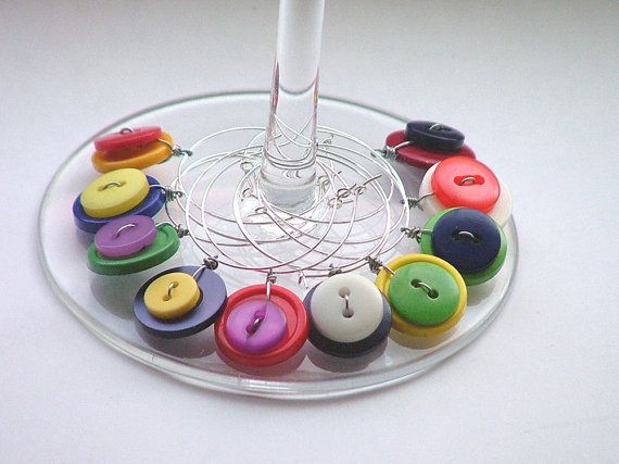 Button Wine Glass Charms