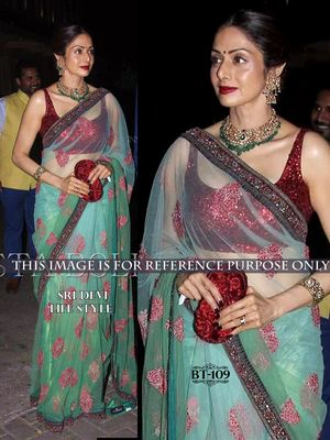 Bollywood Replica Latest Fashion Designer Blue Net Saree Laxmivilla Gems Sarees on Shimply.com