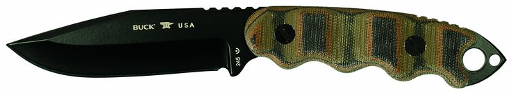 """Buck Knives 245 Matt Would Go Fixed Blade Tactical Knife benefiting the Navy SEAL Foundation. 4"""" drop point blade with Black Powder Coated Finish. 5160 Carbon Steel blade has excellent shock absorbing properties making it resilient to shattering and extremely durable. Overall Length 9"""" 6.3 oz. Custom Camouflage-like Micarta Handle with combat point on the tip. Includes Textured Kydex Snap-in adjustable Sheath with Tek-lok belt clip that can be adjusted for left or right carry in the..."""
