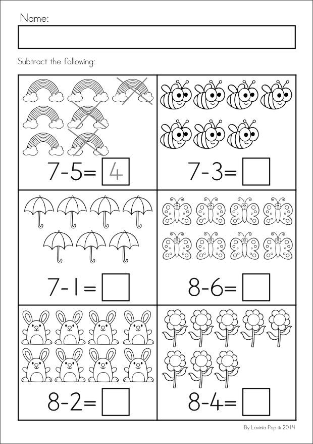 Kindergarten SPRING Math & Literacy unit. 94 pages in total. A page from the unit: Subtraction